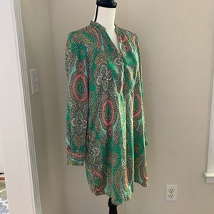 Zara Paisley Printed Green Tunic Dress a Sz S
